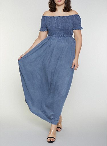 Plus Size Chambray Off the Shoulder Maxi Dress,BLUE,large