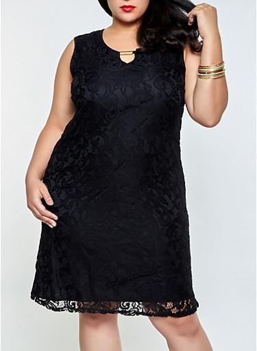 Plus Size Lace Dress,BLACK,large