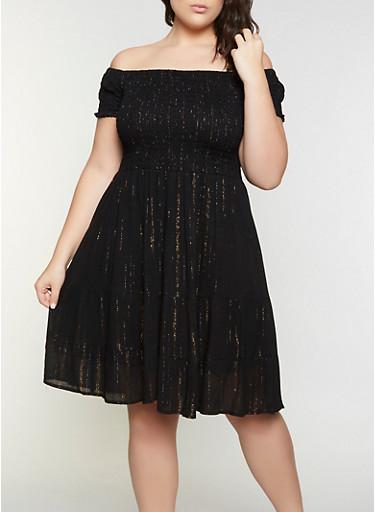Plus Size Smocked Off the Shoulder Babydoll Dress,BLACK,large