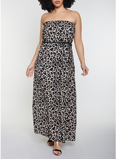 Plus Size Animal Print Maxi Dress - Rainbow