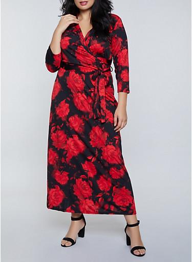 Plus Size Rose Print Faux Wrap Maxi Dress,RED,large