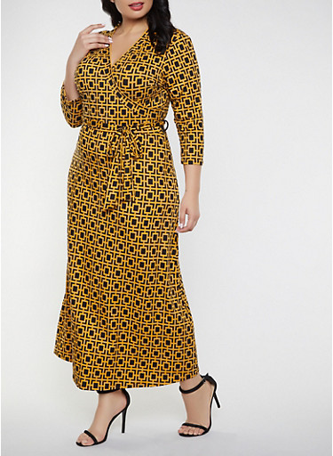 Plus Size Printed Faux Wrap Maxi Dress,MUSTARD,large