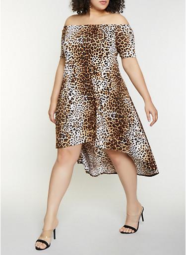 Plus Size Animal Print Off the Shoulder Dress - Rainbow