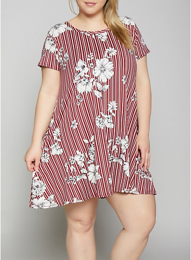 Plus Size Striped Floral Trapeze Dress,WINE,large