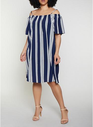 Plus Size Off the Shoulder Striped Shift Dress,NAVY,large