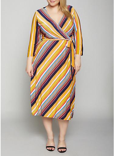 Plus Size Multi Color Striped Dress,ORANGE,large