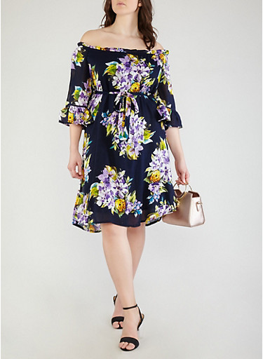 Plus Size Floral Off the Shoulder Dress,NAVY,large