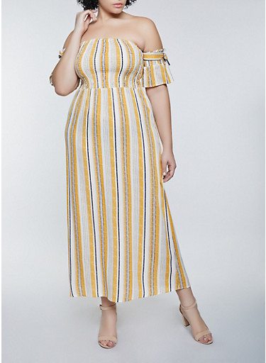 Plus Size Striped Off the Shoulder Maxi Dress,YELLOW,large