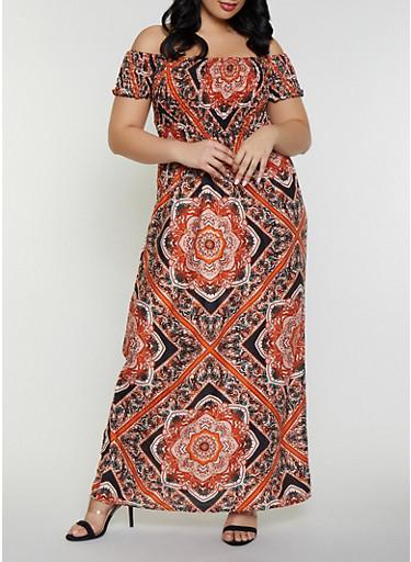 Plus Size Printed Off The Shoulder Maxi Dress Orange Rainbow