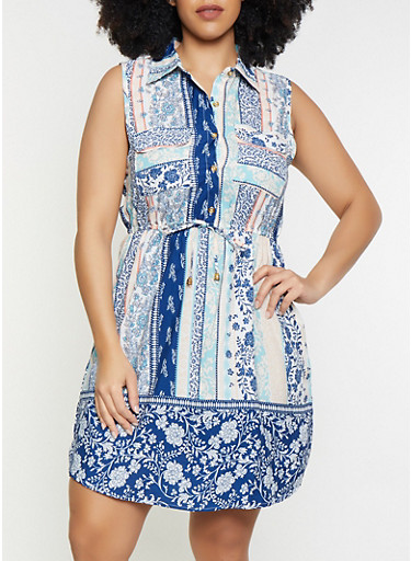 Plus Size Border Print Sleeveless Dress,BLUE,large