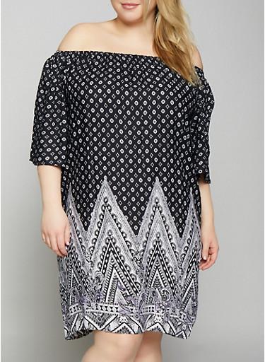 Plus Size Border Print Off the Shoulder Dress,BLACK,large