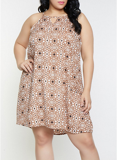 Plus Size Geometric Print Keyhole Shift Dress,TAN,large