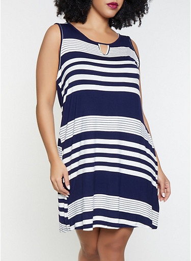 Plus Size Striped Keyhole Tank Dress,NAVY,large