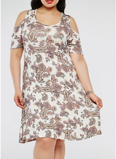 Plus Size Paisley Print Cold Shoulder Dress,IVORY,large