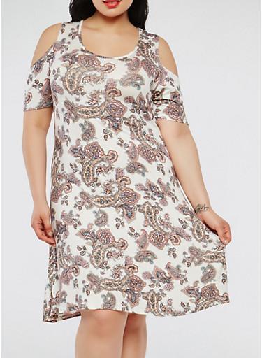 Plus Size Paisley Print Cold Shoulder Dress | Tuggl