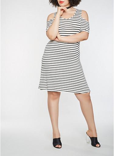 Plus Size Striped Cold Shoulder Dress,IVORY,large
