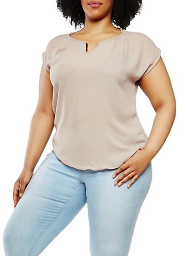Plus Size Metallic Neck Detail Top,KHAKI,large
