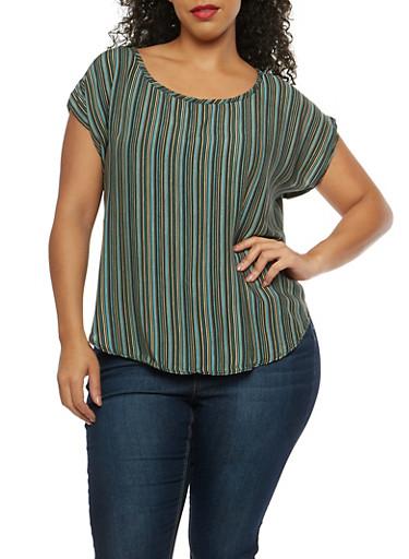 Plus Size Vertical Stripe Top,BLACK OLIVE,large
