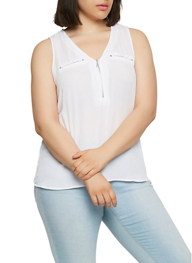 Plus Size Zip Front High Low Top,WHITE,large