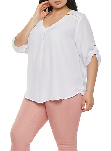 Plus Size Zipper Detail Crepe Knit Blouse,WHITE,large