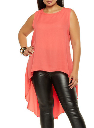 Plus Size High Low Sleeveless Blouse,CORAL,large