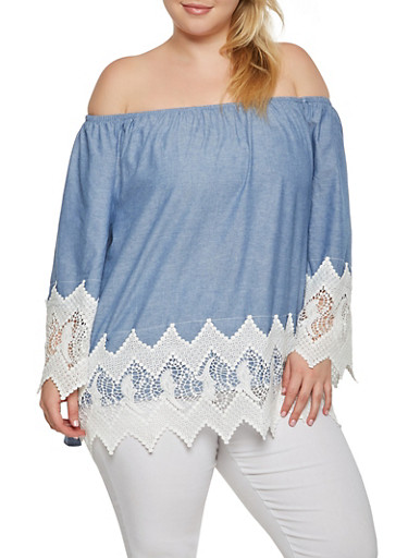 Plus Size Off the Shoulder Crochet Trim Top,BLUE,large