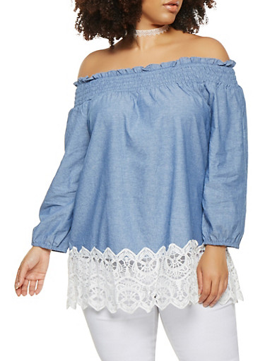 Plus Size Crochet Trim Off the Shoulder Top,BLUE,large