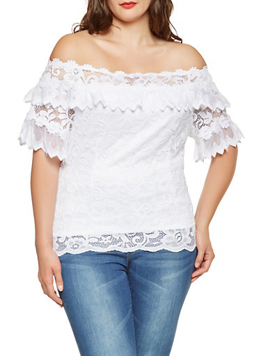 Plus Size Lace Off the Shoulder Top,WHITE,large