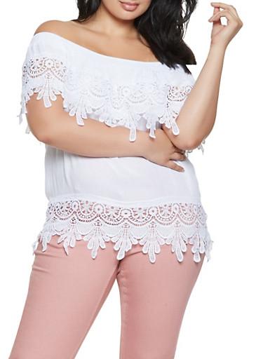 Plus Size Off the Shoulder Crochet Trim Top,WHITE,large