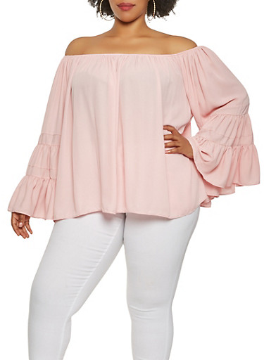 Plus Size Off the Shoulder Bell Sleeve Top,BLUSH,large