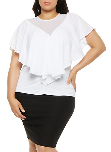 Plus Size Ruffle Overlay Mesh Detail Top,WHITE,large