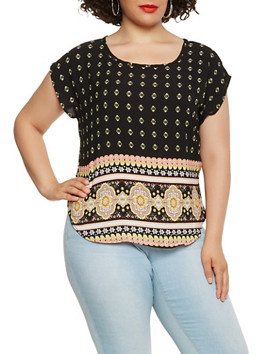 Plus Size Border Print Top,GOLD,large