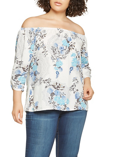 Plus Size Floral Off the Shoulder Top | Tuggl