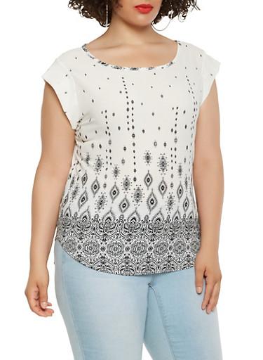 Plus Size Border Print Crepe Knit Top,IVORY,large