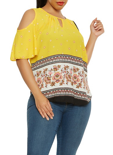 Plus Size Cold Shoulder Border Print Top,YELLOW,large
