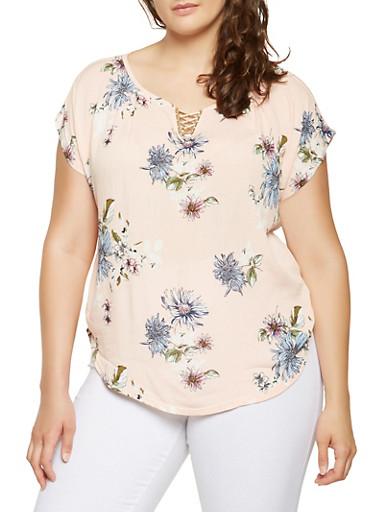 Plus Size Metallic Neck Detail Floral Top,ROSE,large