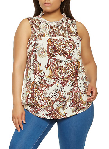 Plus Size Paisley Print Top,IVORY,large