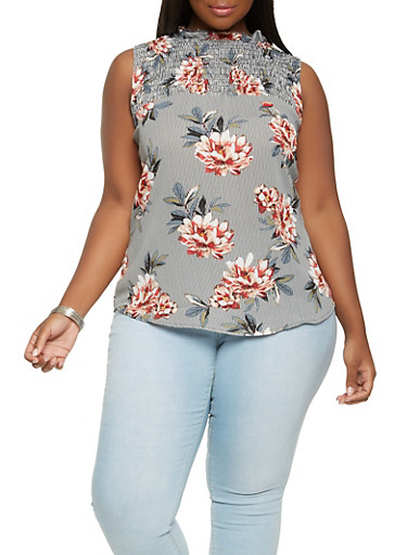 Plus Size Floral Smocked Yoke Top,GRAY,large