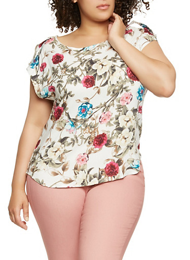 Plus Size Tabbed Sleeve Floral Top | Tuggl