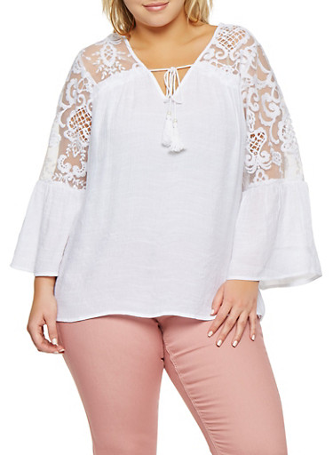 Plus Size Embroidered Bell Sleeve Top,WHITE,large