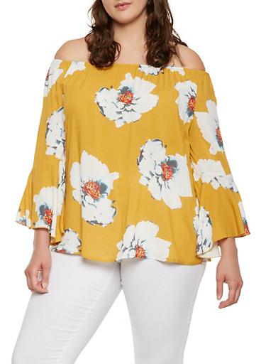 Plus Size Floral Off the Shoulder Top,MUSTARD,large