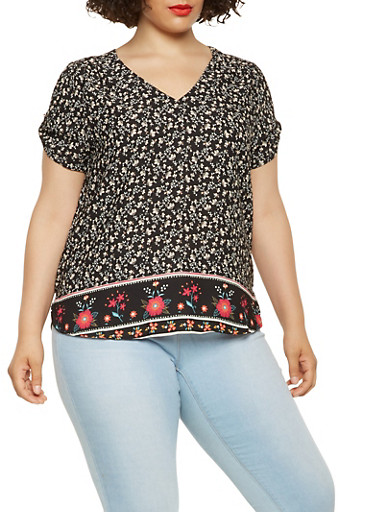 Plus Size Floral Border Print Blouse,BLACK,large