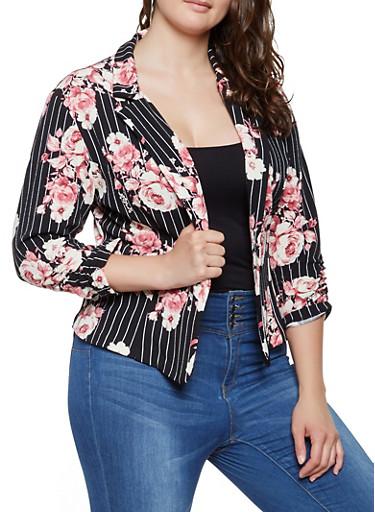 Plus Size Striped Floral Blazer,BLACK,large