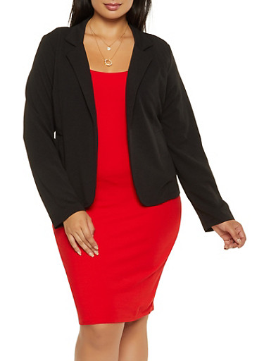 Plus Size Textured Knit Blazer | 9423062700017,BLACK,large