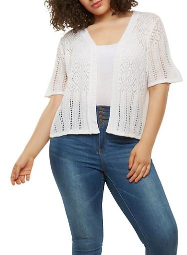 Plus Size Knit Cardigan,WHITE,large
