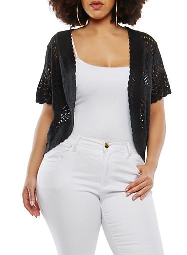 Plus Size Knit Shrug,BLACK,large