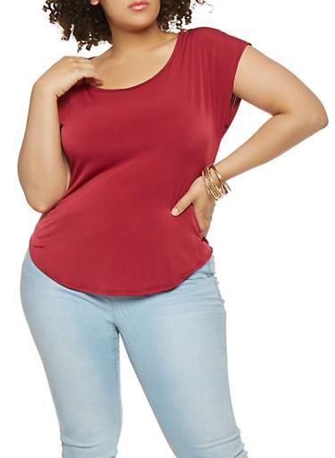 Plus Size Zip Shoulder Top,WINE,large