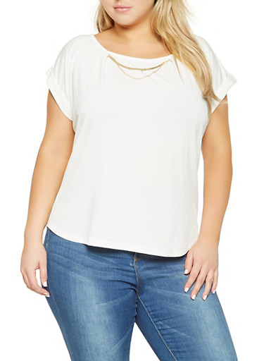 Plus Size Solid Metallic Detail Top,IVORY,large