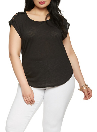 Plus Size Textured Knit Button Detail Top,BLACK,large