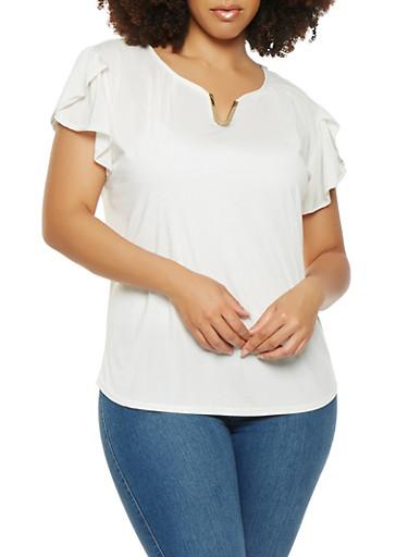 Plus Size Flutter Sleeve Blouse,IVORY,large